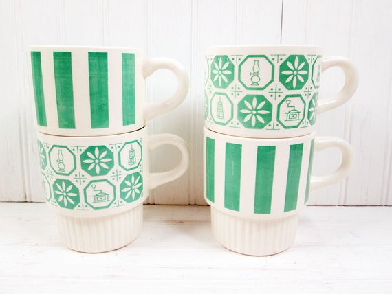 Vintage Coffee Cups Set Green Stacking Ceramic USA Stripes Retro Kitchen