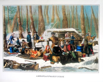 American Forest Scene - Currier and Ives - 1978 Large Vintage Book Plate