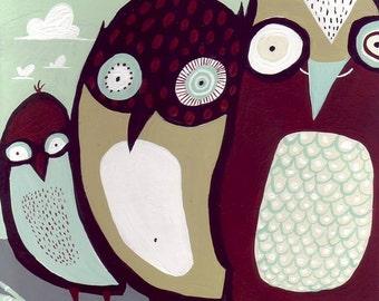 Bird Art Painting Wall Decor - Whimsical Original Three Bird Family Folk Artwork Illustration - 8x10 Light Powder Blue Brown - Sale