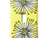 Mod Sunshine Yellow Light Switch Plate Black Flowers Gold Glitter, Retro Pop Art (MTO)