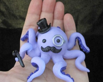 Custom Color Dapper Gentleman Octopus with a Mustache Monocle and Top Hat Statue