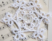 Sale - Tatted Snowflake, Tatted, Ornament, Christmas Icy White with Antique Button