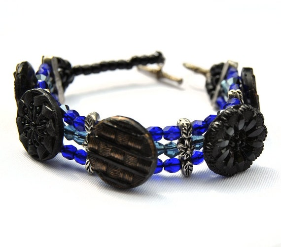 Sale - Antique Button Bracelet - Black Glass Jet Buttons - Neo Victorian Cobalt Copper