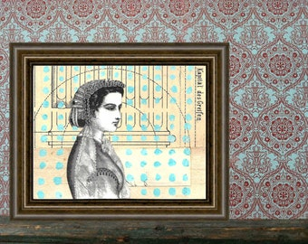 She Knows How to Draw a Column - Original mixed media COLLAGE