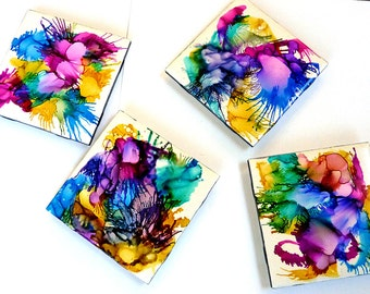 Painted tile coasters, ceramic tile coaster set, home decor, hand painted coasters, drinks coasters, rainbow colored coasters, OOAK unique