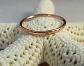 14K Rose Gold Ring Band Hammered Stacking Ring