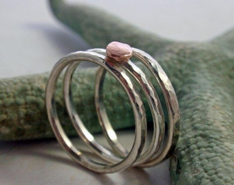 14K Rose Gold and Sterling Silver Hammered Stacking Ring Band Set of Three