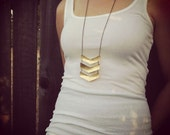 Triple Chevron Necklace, Brass Metal and Hammered