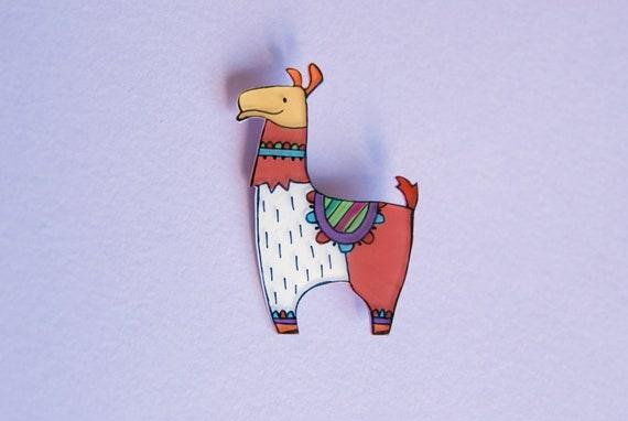 Animal jewelry, Llama Brooch, illustrated Acrylic