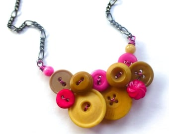 Tan and Hot Pink Button Necklace