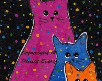 Fiesta Polka-Dot Kitties Blue Orange Magenta Pink Abstract Cat Art ACEO Original Painting ATC
