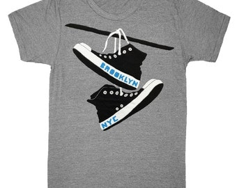 Brooklyn Converse - Unisex Mens T-shirt Indie Hipster Geek Laces Shoes BK BKLYN NYC Tee New York Shirt Athletic Gray TriBlend Track T-shirt