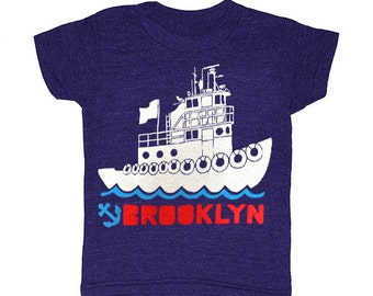 KIDS Brooklyn Tugboat - Tshirt Nautical New York Ship Boat Cute Adorable T-shirt Boy Girl Toddler Youth Children Red Hook  Indigo Tee Shirt