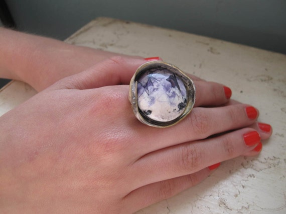 Reserved wild thing vanilla and purple eco silver ring with exquisite tiffany stone size 7 3/4