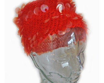 Vintage 1960s Mod Red Wool Disk Crochet Hat