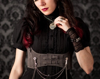 Steampunk Harness GREY Velvet Faux Suede Underbust Bodice with Silver Gears, Buckles, Chain, and Antique Keys by Velvet Mechanism