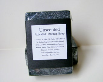 Activated Charcoal Soap, Natural Bar Soap, Detox Soap, Vegan, Unscented Handmade Soap, Fragrance Free with Kaolin Clay