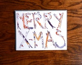 """Cat Lettered """"Merry X-Mas"""" Card"""
