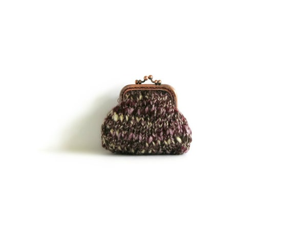 Tweed Burgundy Coin Purse Knitted