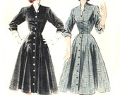 1950s Coat Dress - Butterick 6304 - Flared Skirt / Mandarin Collar - Vintage Sewing Pattern - Size 16 / Bust 34