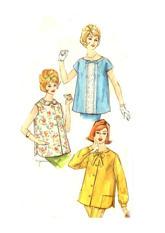 1960s Maternity Top - Simplicity 3925 - Sleeve Options - Vintage Sewing Pattern - Size 18 / Bust 38