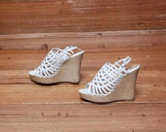 size 7 PLATFORM white leather 80s ESPADRILLE LATTICE peep toe wedge sandals