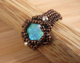 Sample Sale! 40% off!  Abalone and Sterling Silver Glass Beaded Ring