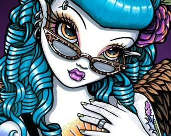 Rockabilly Baby Tattoo Classy Angel Fairy Canvas ACEO CU