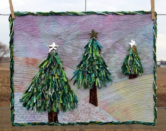 Quilted Wall Art - Three Shredded Christmas Pine Trees