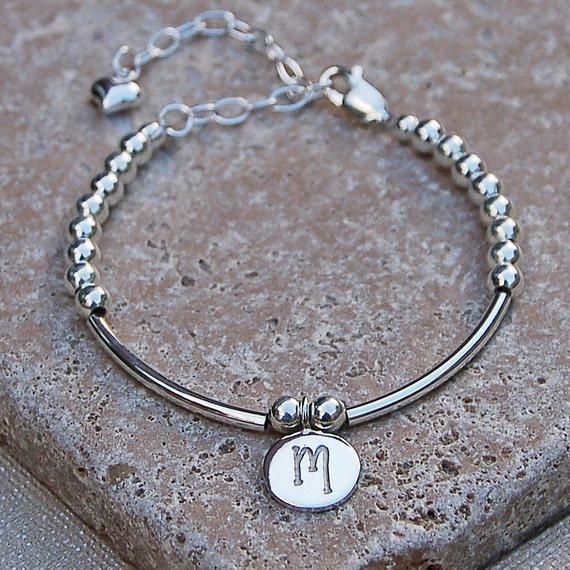 Girls Personalised Silver Bracelet