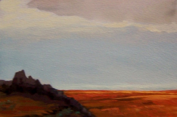 RESERVED for J, Devils Backbone, original painting, 100% charity donation, oil painting, landscape, 4x6, art board, clouds
