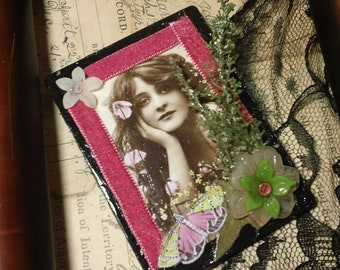Midsummer visions - altered collage mixed media art magnet