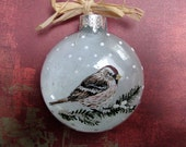 Personalize -Common RedPoll Handpainted Glass Ornament - 2012 Winter Bird Collection