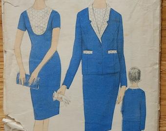 "1960s vintage original Maudella sewing pattern Dress and Jacket Mod style Bust 34"""