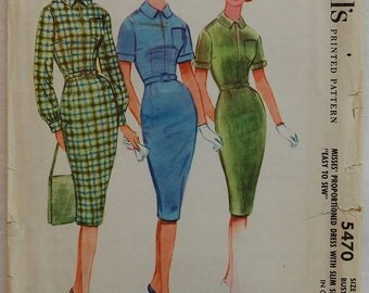 """1960s vintage original McCall's 5470 sewing pattern wiggle dress Bust 34"""""""
