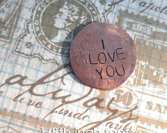 Penny Charm for your Pocket . Includes Up to 4 words. like a worry stone. hammered coin. penny w/custom phrase, date, name, initials stamped