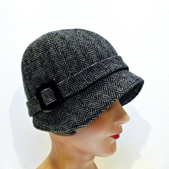 Women's Hat 1920s Cloche Hat in Vintage Herringbone