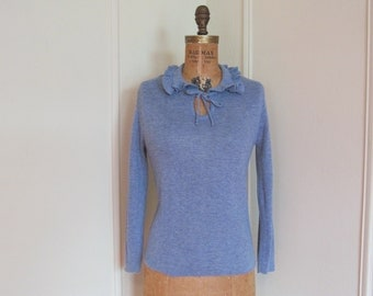 vintage 1970s Periwinkle Blue Sweater with Ruffly Collar and Sassy Keyhole - size small to medium