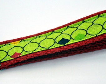 1 inch Red Cotton Webbing with Lime Green Background with Purple, Yellow, Red and Lime Green French Motiff Print