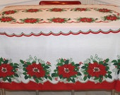 Oval Poinsettia Tablecloth with Bright Colors