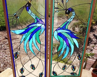 "Stained glass panels - ""Iridescent Peacock"" (P-26)"
