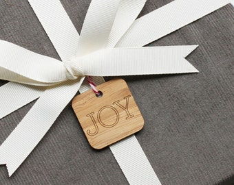 Keepsake Holiday Gift Tags - Set of 9 modern engraved wood gift tags