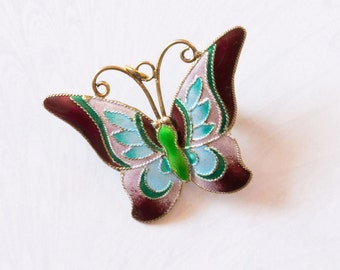 REDUCED Art Deco Silver Gilt,Acqua and Maroon Enamel Butterfly Brooch/Pendant;Dual Purpose,Spring SummerJewellery,Gift For Her,Mothers Day