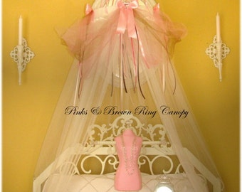 Fairy Princess Bed Canopy Crown Tent Ring SHEERS INCLUDED Dress Up Pink Brown playtime reading nook tea party birthday