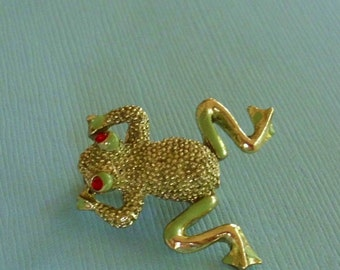 Vintage Moving Frog Pin Brooch