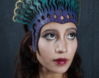 Cleopatra leather headdress in violet, teal and gold
