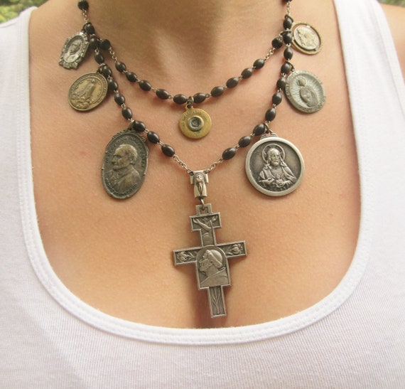 Sanctuary - Vintage Catholic Medallion Assemblage Necklace with Vintage Black Rosary Beads by DanielleRoseBean Statement Necklace