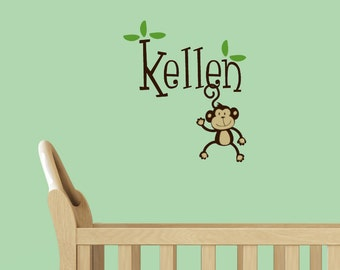 Vinyl decal, Personalized Monkey Monogram, Kids name Vinyl Wall Decal Sticker