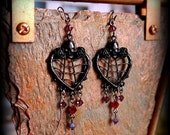 skull and roses black metal webbed heart earrings with red and purple swarovski crystals