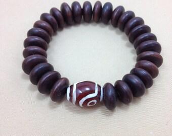 Date Wood Mala Bracelet with Etched Agate - Wood Yoga and Meditation Bracelet